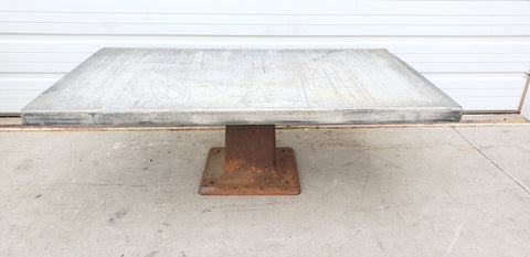 Gray Top Coffee Table with Iron Base