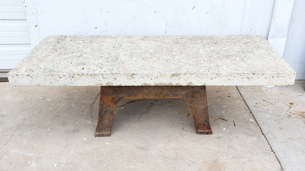 Limestone Coffee Table with Rusty Industrial Base