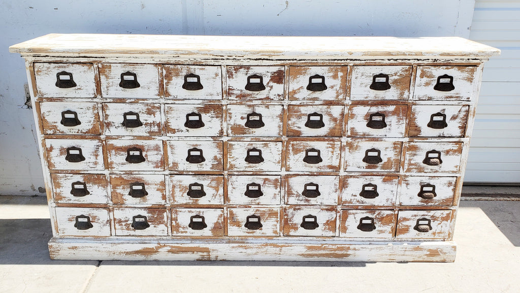 Antique Painted 35 Drawer Cabinet