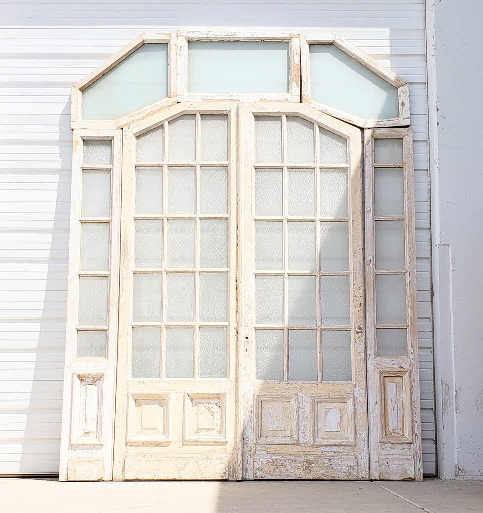 Pair of 15 Pane White French Doors with Sidelights and Transom