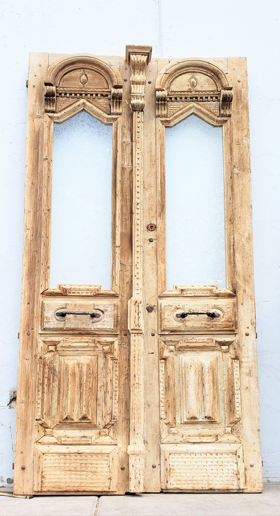 Pair of Washed Wood Doors with Single Glass Panes