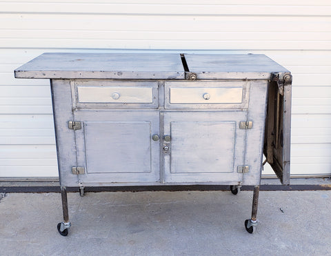 Stripped Stainless Medical Table/Cabinet