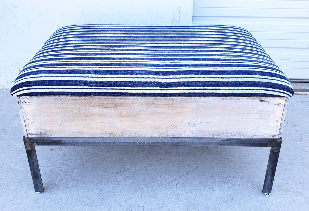 Raisin Box Ottoman with Blue Batik Top