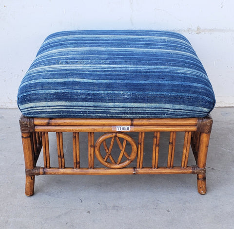 Vintage Rattan Ottoman with Blue Batik Top