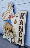 Lighted Metal Cowgirl Ranch Sign