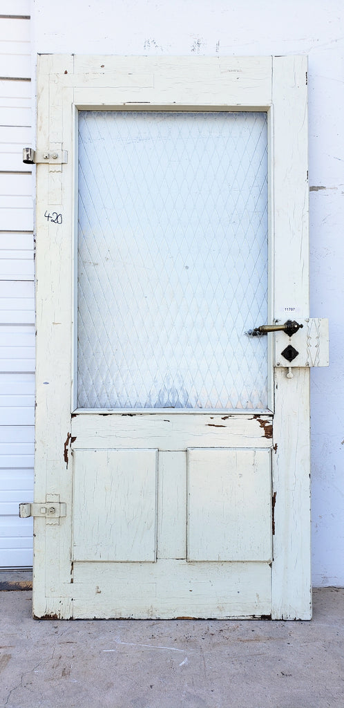 Antique 2 Panel Single Wood Door with Chicken Wire Glass