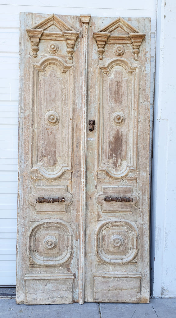 Pair of Carved Wood Doors with Pediment