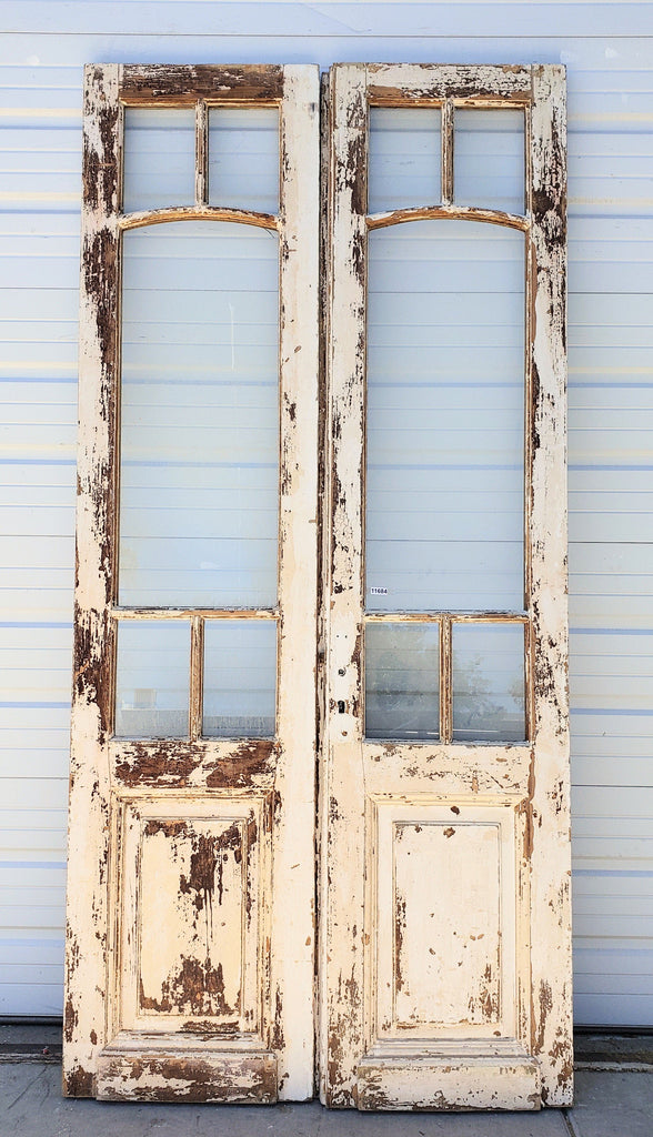 Pair of 5 Lite Painted Wood French Doors