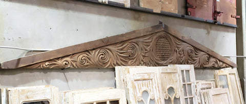 Large Ornate Triangular Wood Architectural Pediment