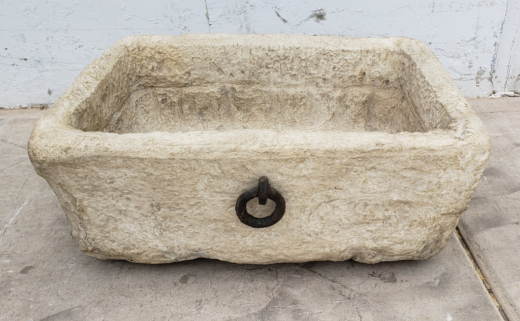 Stone Garden Trough Planter with One Iron Ring