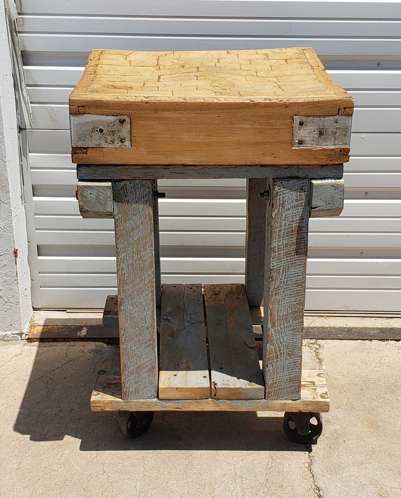 Gray Butcher Block Island on Casters