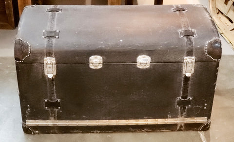 Antique Black Leather Car Trunk