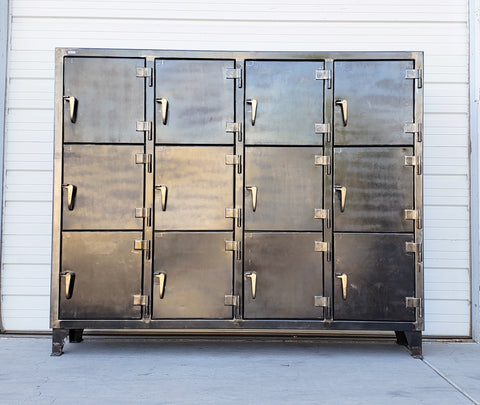 Set of 12 Stripped Stronghold Locker Cabinets