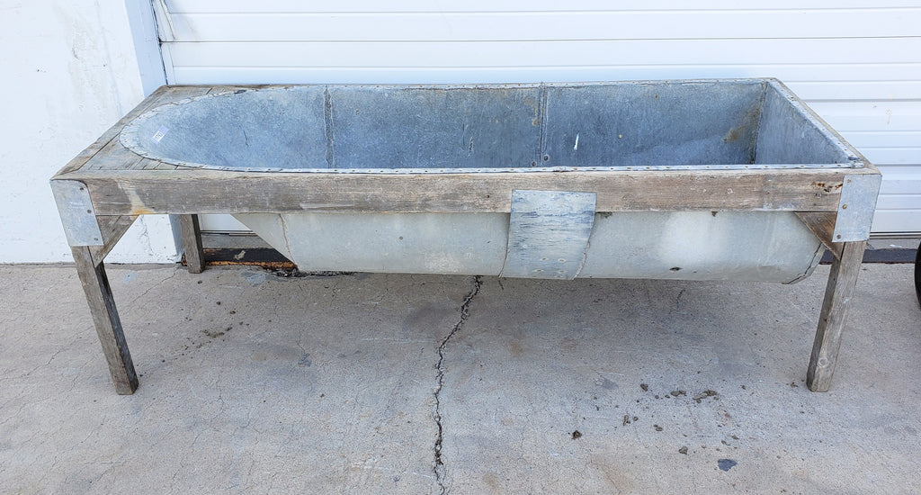 Galvanized Bathtub in Wood Stand