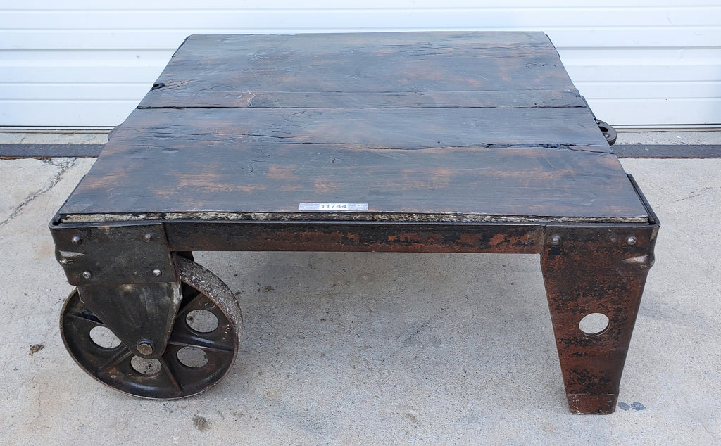 Dark Wood Cast Wheel Coffee Table Trolley