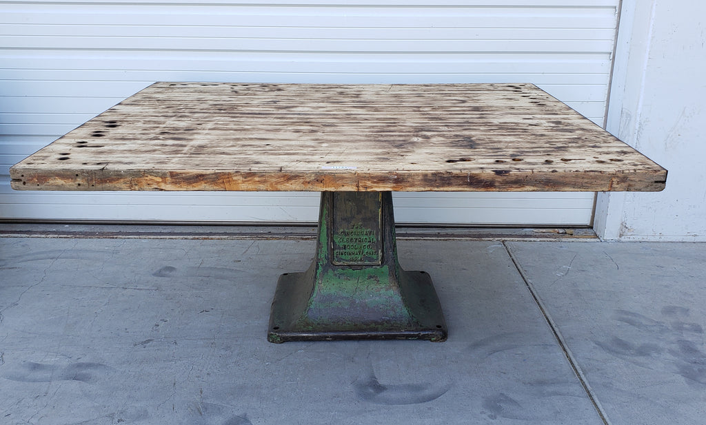 Industrial Wood & Green Iron Dining Table