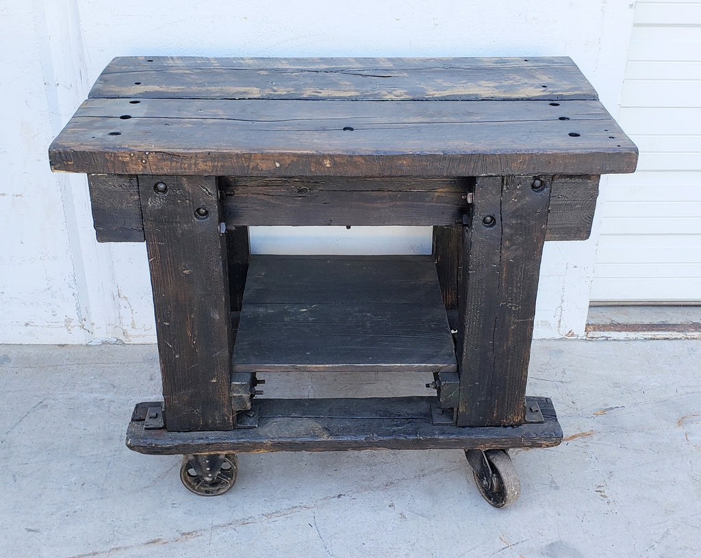 Dark Wood Rolling 2 Level Trolley Table