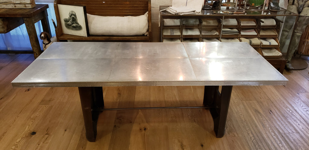 Industrial Riveted Stainless Steel Dining Table