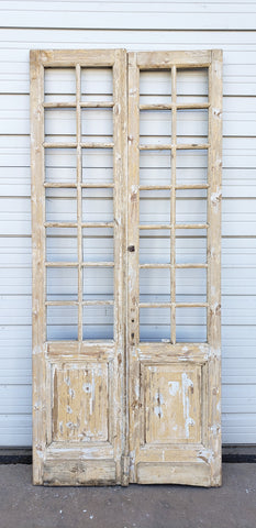 Pair of 14 Lite Washed Wood French Doors