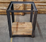 Steel Side Table with Barn Wood Bottom Shelf (no top)