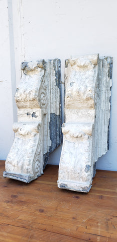Pair of White Chippy Zinc Corbels