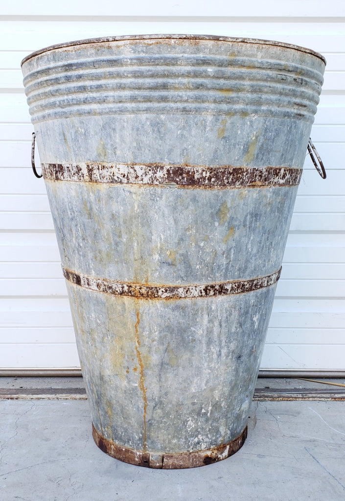 Galvanized Wine Bucket / Planter with 2 Rings