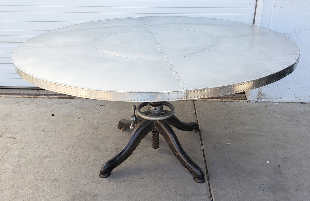 Round Riveted Stainless Table w/Adjustable Base