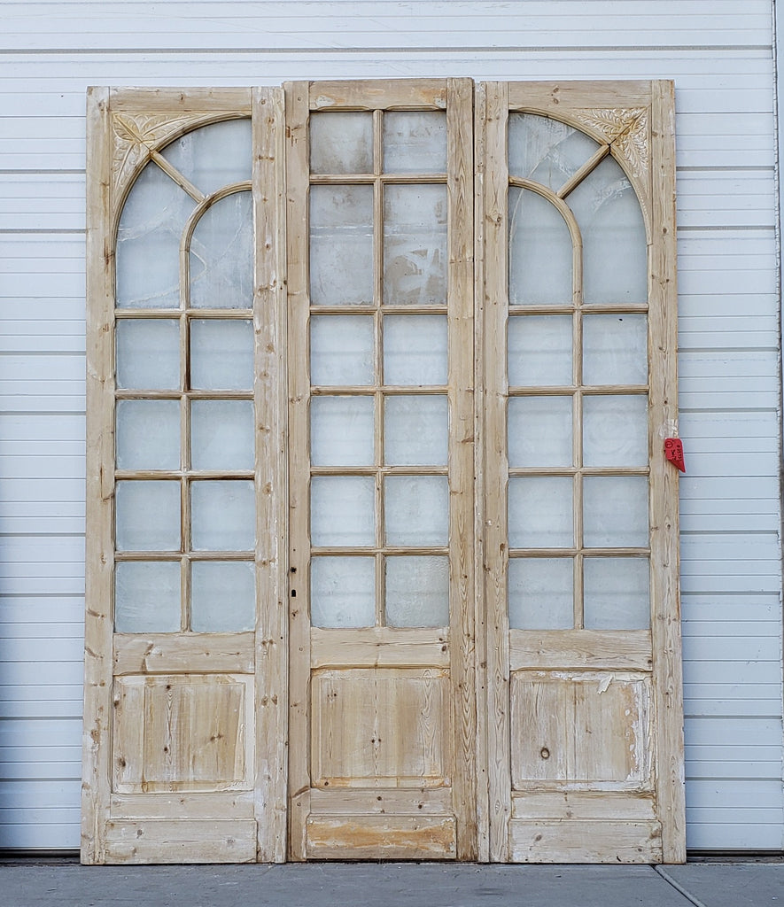 Set of 3 Wooden Doors with Arched Glass Panes