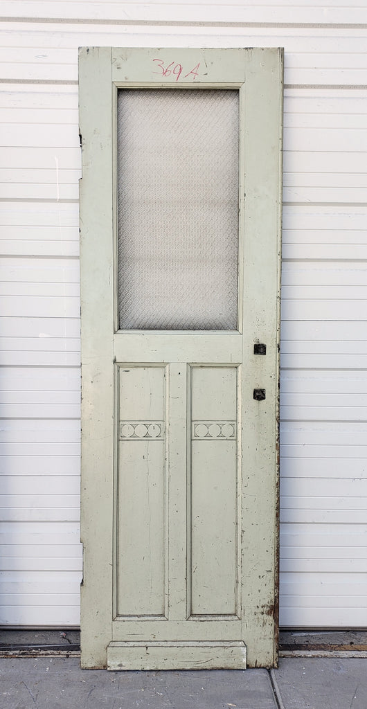 Single Wooden Door with Patterned Glass Pane