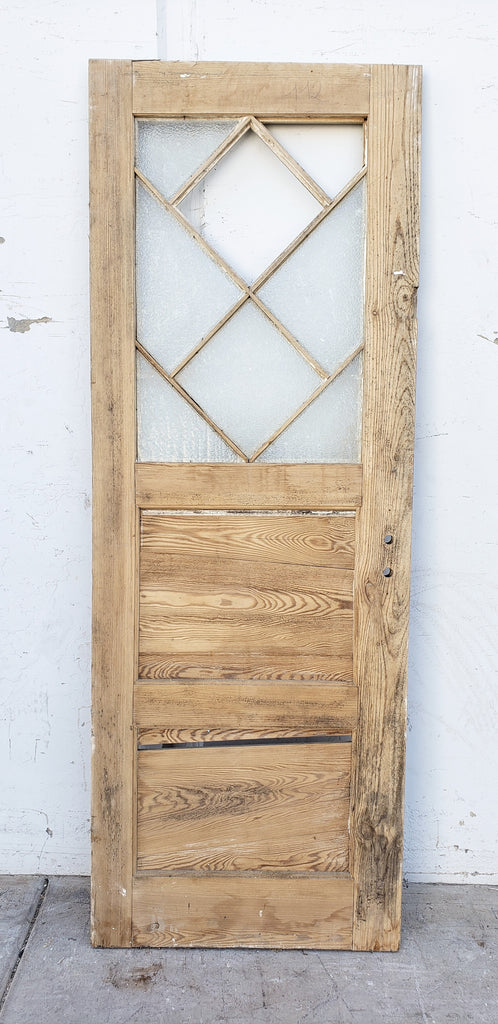 2 Panel Diamond Lite Single Stripped Wood Door