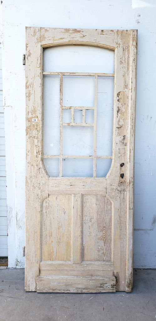 Antique Craftsman 3 Panel Single Washed Wood Door