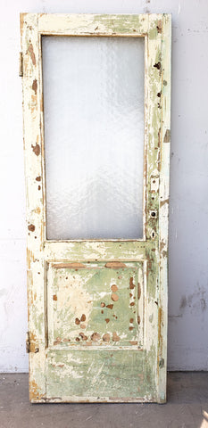 Single Wood Door with One Large Pebbled Glass Pane