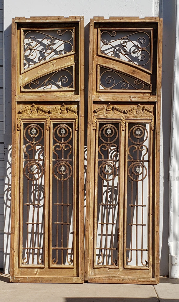 Pair of Large Wooden Doors/Windows with Iron Inserts