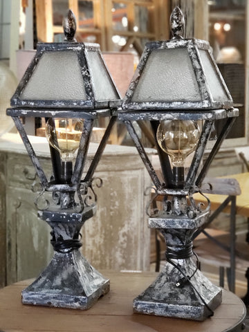 Repurposed Carriage House Table Lamps