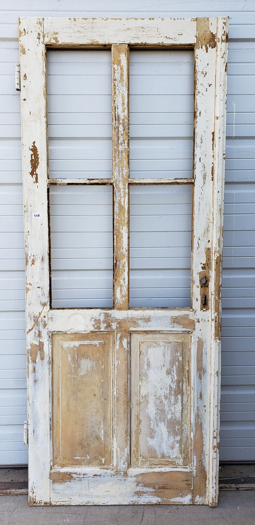 Single Wood Door with 4 Panes (No Glass)
