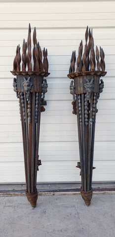 Pair of Old Iron Torch Sconces