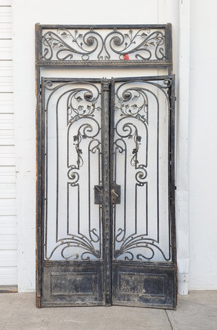 Pair of Ornate Iron Gates with Top Panel