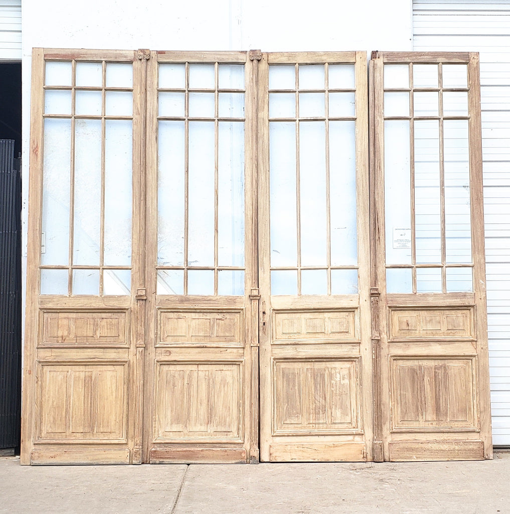 Set of 2 Panel 12 Lite Natural Wood French Doors with Transom