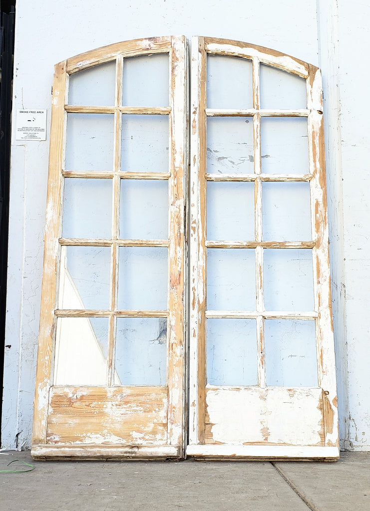 Pair of 10 Lite Arched White French Doors