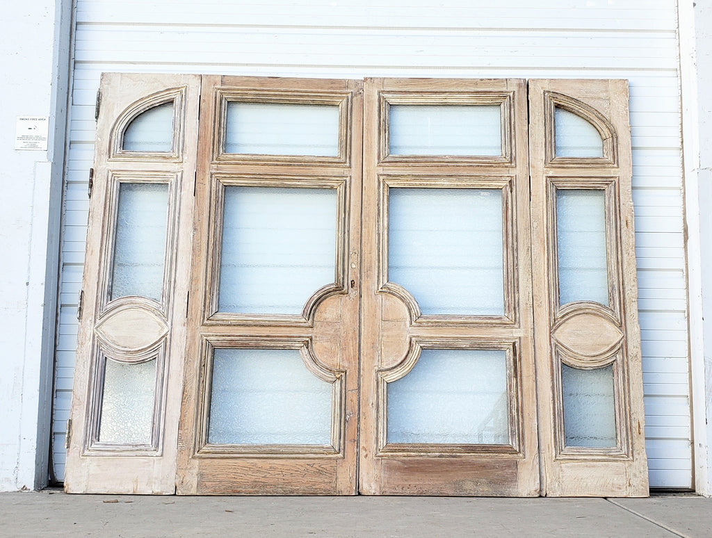 Pair of Wide Bleached Oak French Doors with 2 Sidelites (4 Pieces)