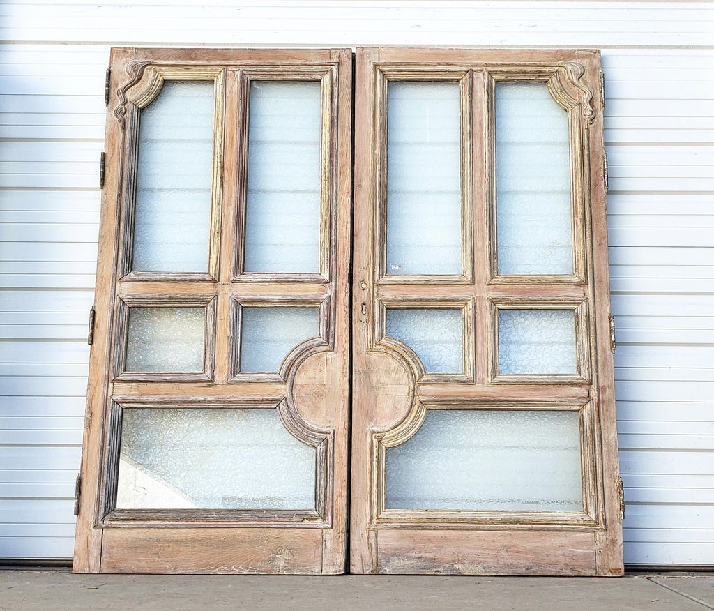 Pair of Wide Bleached Oak 5 Panel French Doors with Round Center Panel