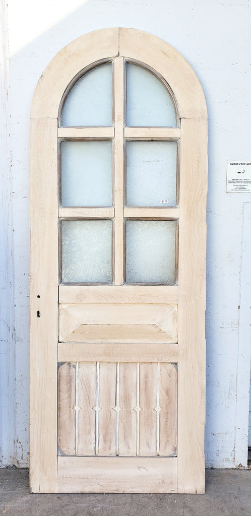 2 Panel 6 Lite Bleached Hickory Half-Round Single Door