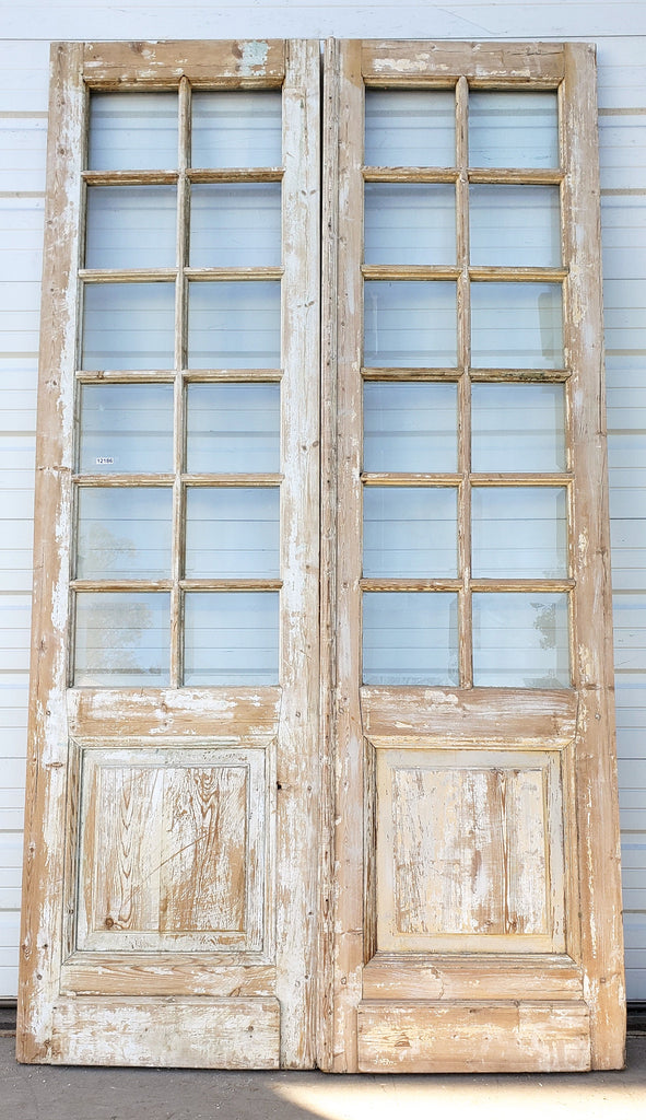 Pair of Wooden French Doors with 12 Beveled Panes