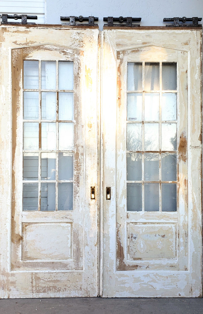 Pair of Antique Sliding Doors with 15 Glass Panes Each