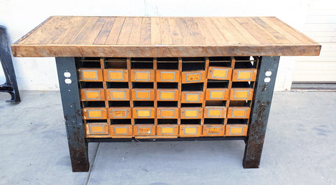 Industrial 28 Drawer Island Work Table