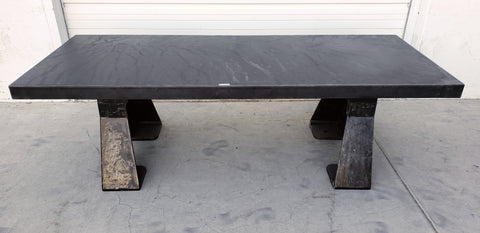 Steel Dining Table with Cast Iron Legs