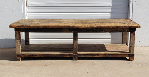 10 Foot Primitive Wooden Work Table