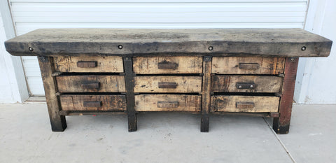 9 Drawer Wood Console Work Bench