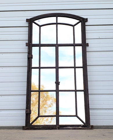 20 Pane Repurposed Arched Iron Mirror