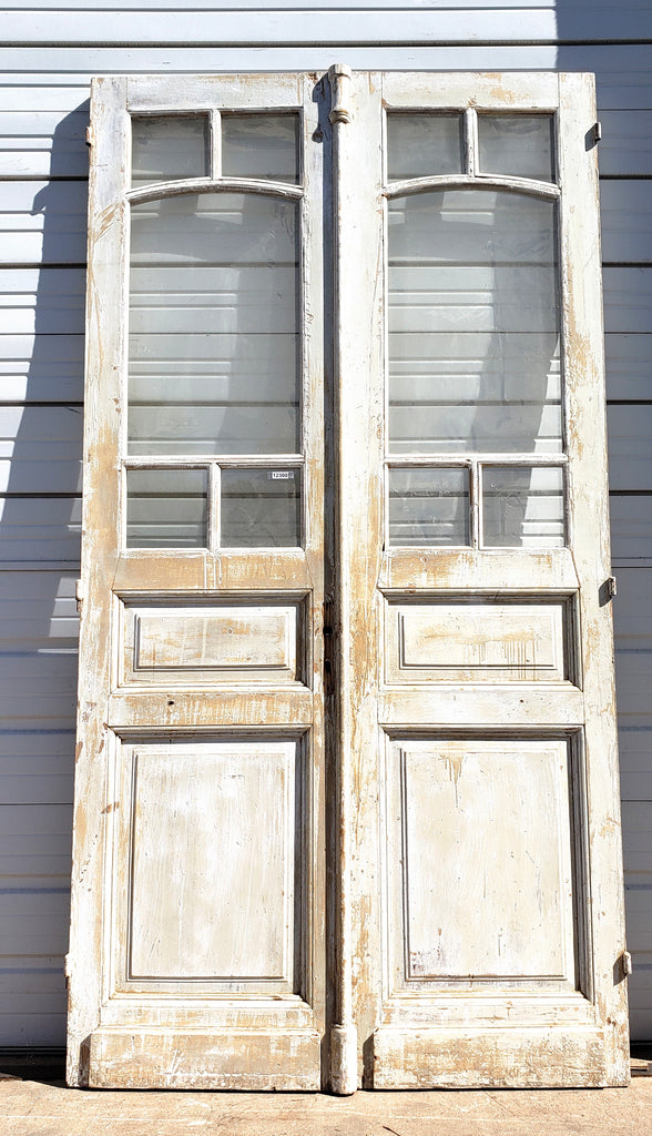 Pair of 2 Panel 5 Lite Washed Wood French Doors